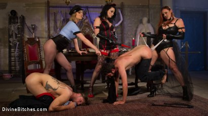 Photo number 14 from Bitchcraft: A Femdom Tea Party shot for Divine Bitches on Kink.com. Featuring Mike Panic, Jay West, Veruca James, Cherry Torn and Bella Rossi in hardcore BDSM & Fetish porn.