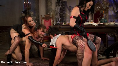 Photo number 2 from Bitchcraft: A Femdom Tea Party shot for Divine Bitches on Kink.com. Featuring Mike Panic, Jay West, Veruca James, Cherry Torn and Bella Rossi in hardcore BDSM & Fetish porn.