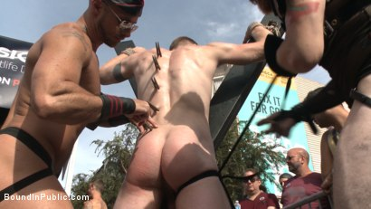 Photo number 2 from Cass Bolton's Folsom Street Fair Orgy Continues! shot for Bound in Public on Kink.com. Featuring Christian Wilde, Jessie Colter and Cass Bolton in hardcore BDSM & Fetish porn.