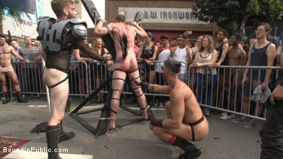 Photo number 3 from Cass Bolton's Folsom Street Fair Orgy Continues! shot for Bound in Public on Kink.com. Featuring Christian Wilde, Jessie Colter and Cass Bolton in hardcore BDSM & Fetish porn.