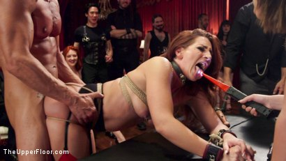 Photo number 29 from Hot Kinky Slave Orgy  shot for The Upper Floor on Kink.com. Featuring Aiden Starr, Mickey Mod, Marco Banderas, Ella Nova , Joseline Kelly, Ember Stone and Savannah Fox in hardcore BDSM & Fetish porn.