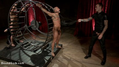 Photo number 6 from Newcomer vs Veteran - Slaves Compete to Satisfy Their Masters shot for Bound Gods on Kink.com. Featuring Christian Wilde, Sebastian Keys, Scott Riley and Eli Hunter in hardcore BDSM & Fetish porn.