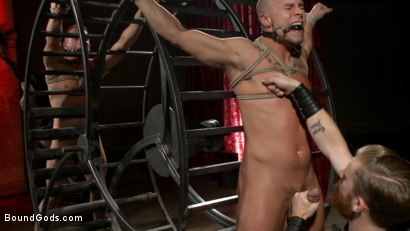 Photo number 7 from Newcomer vs Veteran - Slaves Compete to Satisfy Their Masters shot for Bound Gods on Kink.com. Featuring Christian Wilde, Sebastian Keys, Scott Riley and Eli Hunter in hardcore BDSM & Fetish porn.