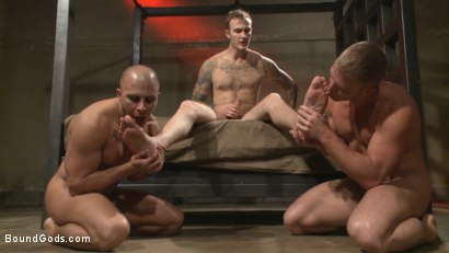 Photo number 12 from Newcomer vs Veteran - Slaves Compete to Satisfy Their Masters shot for Bound Gods on Kink.com. Featuring Christian Wilde, Sebastian Keys, Scott Riley and Eli Hunter in hardcore BDSM & Fetish porn.