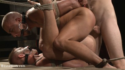 Photo number 9 from Newcomer vs Veteran - Slaves Compete to Satisfy Their Masters shot for Bound Gods on Kink.com. Featuring Christian Wilde, Sebastian Keys, Scott Riley and Eli Hunter in hardcore BDSM & Fetish porn.