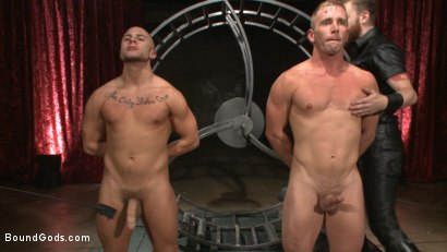 Photo number 1 from Newcomer vs Veteran - Slaves Compete to Satisfy Their Masters shot for Bound Gods on Kink.com. Featuring Christian Wilde, Sebastian Keys, Scott Riley and Eli Hunter in hardcore BDSM & Fetish porn.
