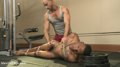 Photo number 12 from Big cock stud gets edged in the gym shot for Men On Edge on Kink.com. Featuring Aaron Reese in hardcore BDSM & Fetish porn.
