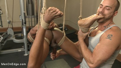 Photo number 8 from Big cock stud gets edged in the gym shot for Men On Edge on Kink.com. Featuring Aaron Reese in hardcore BDSM & Fetish porn.