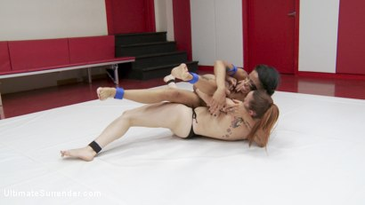 "Photo number 12 from The Annihilator takes on ""The Machine"" in 100% competitive sex wrestling shot for Ultimate Surrender on Kink.com. Featuring Jessica Creepshow and Bella Rossi in hardcore BDSM & Fetish porn."