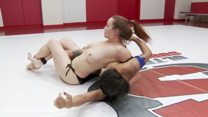 "Photo number 3 from The Annihilator takes on ""The Machine"" in 100% competitive sex wrestling shot for Ultimate Surrender on Kink.com. Featuring Jessica Creepshow and Bella Rossi in hardcore BDSM & Fetish porn."