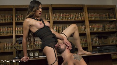 Photo number 1 from Bad Ass Boss Lady Venus Lux Gives DJ a Thorough Review! shot for TS Seduction on Kink.com. Featuring DJ and Venus Lux in hardcore BDSM & Fetish porn.