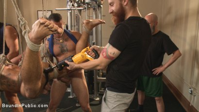 Photo number 10 from Connor Maguire's Gym Slave Takes on a Weight Room Full of Cocks shot for Bound in Public on Kink.com. Featuring Connor Maguire, Aarin Asker and Logan Taylor in hardcore BDSM & Fetish porn.