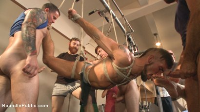 Photo number 8 from Connor Maguire's Gym Slave Takes on a Weight Room Full of Cocks shot for Bound in Public on Kink.com. Featuring Connor Maguire, Aarin Asker and Logan Taylor in hardcore BDSM & Fetish porn.