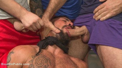 Photo number 4 from Connor Maguire's Gym Slave Takes on a Weight Room Full of Cocks shot for Bound in Public on Kink.com. Featuring Connor Maguire, Aarin Asker and Logan Taylor in hardcore BDSM & Fetish porn.