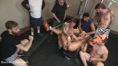 Photo number 8 from Horny gym goers dump their loads on a muscled gym rat shot for Bound in Public on Kink.com. Featuring Connor Maguire, Aarin Asker and Logan Taylor in hardcore BDSM & Fetish porn.