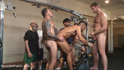Photo number 5 from Horny gym goers dump their loads on a muscled gym rat shot for Bound in Public on Kink.com. Featuring Connor Maguire, Aarin Asker and Logan Taylor in hardcore BDSM & Fetish porn.