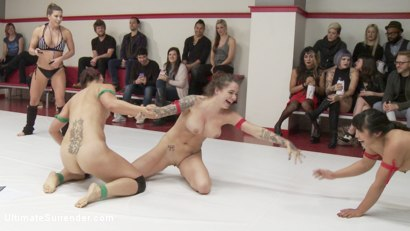 Photo number 7 from December tag Team Erotic Wrestling Match up shot for Ultimate Surrender on Kink.com. Featuring Mia Li, Karmen Karma, Jayogen and Angel Allwood in hardcore BDSM & Fetish porn.
