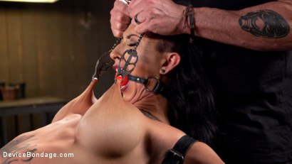 Photo number 3 from Tattooed Pain Slut Begs to Suffer in Diabolical Devices shot for Device Bondage on Kink.com. Featuring Lily Lane and The Pope in hardcore BDSM & Fetish porn.