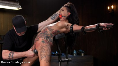 Photo number 4 from Tattooed Pain Slut Begs to Suffer in Diabolical Devices shot for Device Bondage on Kink.com. Featuring Lily Lane and The Pope in hardcore BDSM & Fetish porn.