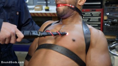 Photo number 2 from Zapped, Beaten & Fucked! - Lazy Shop Worker Takes His Punishment shot for Bound Gods on Kink.com. Featuring Jay Rising and Troy Sparks in hardcore BDSM & Fetish porn.