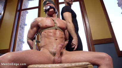 Chiseled guy begs to cum under intense edging