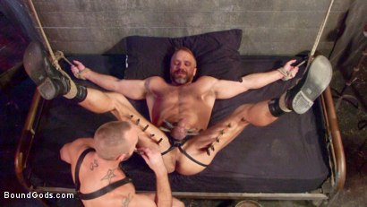 Photo number 8 from Dirk Caber and Jessie Colter Share a Night of Pain and Pleasure shot for Bound Gods on Kink.com. Featuring Dirk Caber and Jessie Colter in hardcore BDSM & Fetish porn.