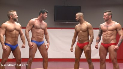 Photo number 15 from Muscle on Muscle: Live Tag Team Oil Match Between 4 Ripped Hunks! shot for Naked Kombat on Kink.com. Featuring Dirk Caber, Billy Santoro, Hugh Hunter and Troy Sparks in hardcore BDSM & Fetish porn.