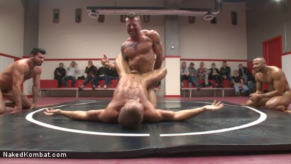 Photo number 3 from Muscle on Muscle: Live Tag Team Oil Match Between 4 Ripped Hunks! shot for Naked Kombat on Kink.com. Featuring Dirk Caber, Billy Santoro, Hugh Hunter and Troy Sparks in hardcore BDSM & Fetish porn.