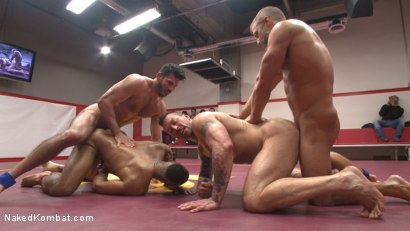 Photo number 12 from Muscle on Muscle: Live Tag Team Oil Match Between 4 Ripped Hunks! shot for Naked Kombat on Kink.com. Featuring Dirk Caber, Billy Santoro, Hugh Hunter and Troy Sparks in hardcore BDSM & Fetish porn.