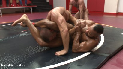 Photo number 7 from Muscle on Muscle: Live Tag Team Oil Match Between 4 Ripped Hunks! shot for Naked Kombat on Kink.com. Featuring Dirk Caber, Billy Santoro, Hugh Hunter and Troy Sparks in hardcore BDSM & Fetish porn.