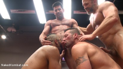 Photo number 11 from Muscle on Muscle: Live Tag Team Oil Match Between 4 Ripped Hunks! shot for Naked Kombat on Kink.com. Featuring Dirk Caber, Billy Santoro, Hugh Hunter and Troy Sparks in hardcore BDSM & Fetish porn.
