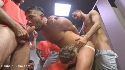 Photo number 6 from Pitcher becomes catcher - Bound stud takes a baseball bat up his ass! shot for Bound in Public on Kink.com. Featuring Jessie Colter, Aaron Reese and Alex Mason in hardcore BDSM & Fetish porn.