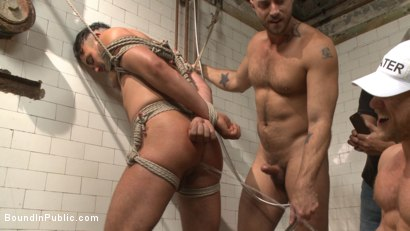Photo number 5 from Extra Innings - Bully Team Violates Pitcher in the Showers shot for Bound in Public on Kink.com. Featuring Jessie Colter, Aaron Reese and Alex Mason in hardcore BDSM & Fetish porn.