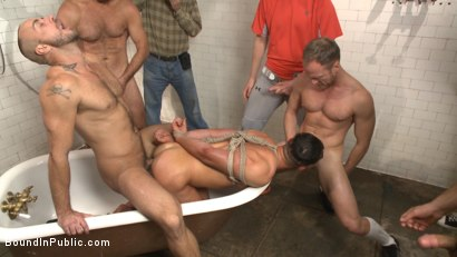 Photo number 6 from Extra Innings - Bully Team Violates Pitcher in the Showers shot for Bound in Public on Kink.com. Featuring Jessie Colter, Aaron Reese and Alex Mason in hardcore BDSM & Fetish porn.
