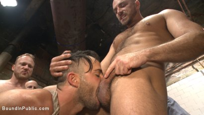 Photo number 3 from Extra Innings - Bully Team Violates Pitcher in the Showers shot for Bound in Public on Kink.com. Featuring Jessie Colter, Aaron Reese and Alex Mason in hardcore BDSM & Fetish porn.