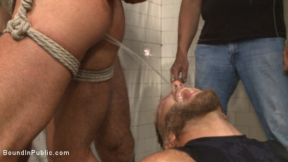 Photo number 4 from Extra Innings - Bully Team Violates Pitcher in the Showers shot for Bound in Public on Kink.com. Featuring Jessie Colter, Aaron Reese and Alex Mason in hardcore BDSM & Fetish porn.