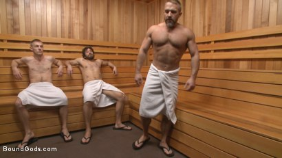 """Photo number 2 from """"I'll show you fucking leather!"""" - Two punks taken down in the gym shot for Bound Gods on Kink.com. Featuring Dirk Caber and Dale Cooper in hardcore BDSM & Fetish porn."""