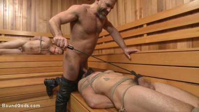 """Photo number 4 from """"I'll show you fucking leather!"""" - Two punks taken down in the gym shot for Bound Gods on Kink.com. Featuring Dirk Caber and Dale Cooper in hardcore BDSM & Fetish porn."""