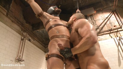 """Photo number 8 from """"I'll show you fucking leather!"""" - Two punks taken down in the gym shot for Bound Gods on Kink.com. Featuring Dirk Caber and Dale Cooper in hardcore BDSM & Fetish porn."""