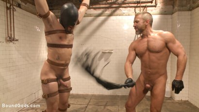 """Photo number 9 from """"I'll show you fucking leather!"""" - Two punks taken down in the gym shot for Bound Gods on Kink.com. Featuring Dirk Caber and Dale Cooper in hardcore BDSM & Fetish porn."""