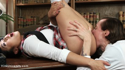 Photo number 2 from Oral Sex Taste Test shot for Kink University on Kink.com. Featuring Owen Gray and Mia Li in hardcore BDSM & Fetish porn.