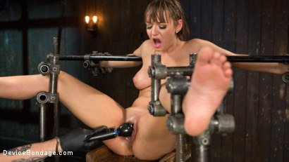 Photo number 10 from Big Tit Brat Gets Diabolic Discipline  shot for Device Bondage on Kink.com. Featuring Charlotte Cross and The Pope in hardcore BDSM & Fetish porn.