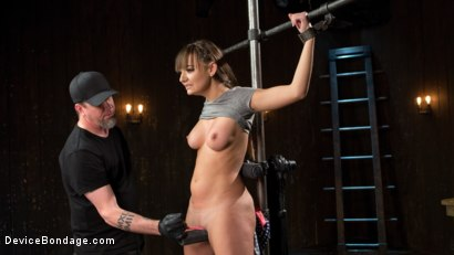 Photo number 2 from Big Tit Brat Gets Diabolic Discipline  shot for Device Bondage on Kink.com. Featuring Charlotte Cross and The Pope in hardcore BDSM & Fetish porn.