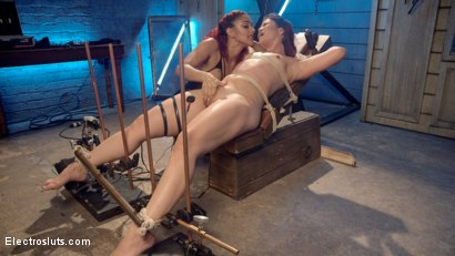 Photo number 3 from The Lesbian Electro Initiation of an Athletic Slut! shot for Electro Sluts on Kink.com. Featuring Daisy Ducati and Jayogen in hardcore BDSM & Fetish porn.