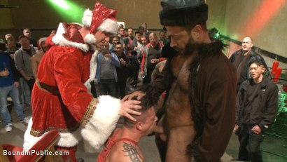 Photo number 1 from Muscled submissive whored out by santa for the holidays shot for Bound in Public on Kink.com. Featuring Rex Cameron, Vinnie Stefano and Connor Maguire in hardcore BDSM & Fetish porn.