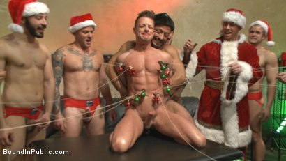 Photo number 9 from Muscled submissive whored out by santa for the holidays shot for Bound in Public on Kink.com. Featuring Rex Cameron, Vinnie Stefano and Connor Maguire in hardcore BDSM & Fetish porn.