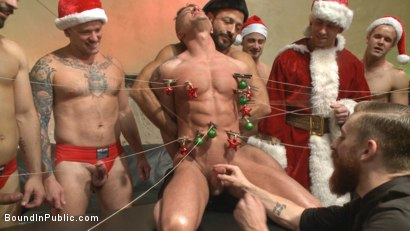 Photo number 2 from Stuffing the holiday whore shot for Bound in Public on Kink.com. Featuring Rex Cameron, Vinnie Stefano and Connor Maguire in hardcore BDSM & Fetish porn.