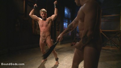 Photo number 13 from Captured Stud Mummified, Beaten, Fucked and Humiliated shot for Bound Gods on Kink.com. Featuring Trenton Ducati and Wesley Woods in hardcore BDSM & Fetish porn.