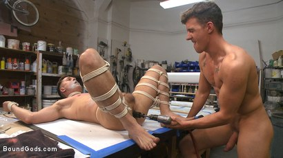 Photo number 10 from Fucking on the job: Stud with a fat cock dominates his creepy coworker shot for Bound Gods on Kink.com. Featuring JJ Knight and Tyler Rush in hardcore BDSM & Fetish porn.