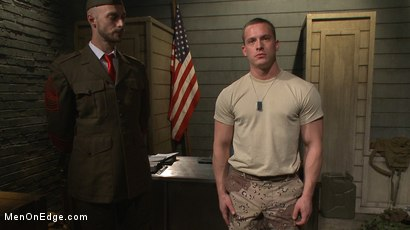 Photo number 1 from Straight Soldier Edged by His Commanding Officers shot for Men On Edge on Kink.com. Featuring Tommy Regan in hardcore BDSM & Fetish porn.